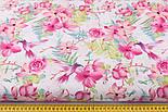 """Отрез ткани """"Колибри в цветущем саду"""" на белом (№2299а), размер 90*160, фото 3"""
