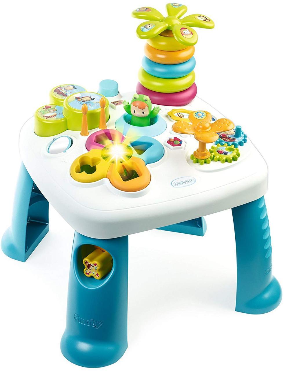 Детский игровой столик Цветочек со звуковыми и световыми эффектами сине-белый Smoby Cotoons