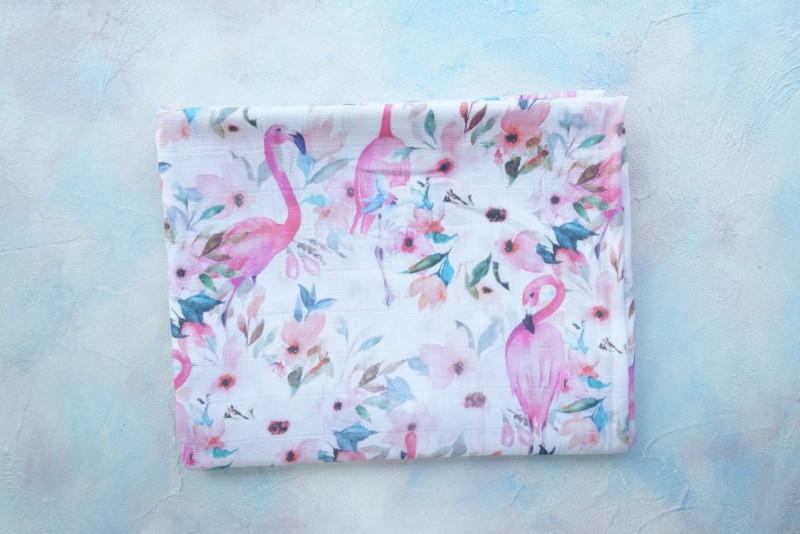 Муслиновая пеленка «Фламинго» (бамбук)