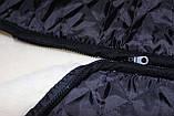 Жилетка з овчини у балоновой тканини великий розмір, фото 3