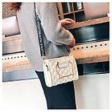 """Женская классическая сумочка на ремне """"Кошка"""" белая, фото 2"""