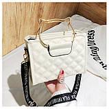 """Женская классическая сумочка на ремне """"Кошка"""" белая, фото 3"""