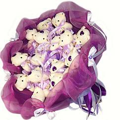 Букет из мягких игрушек Мишки 15 белые в фиолете 5162IT