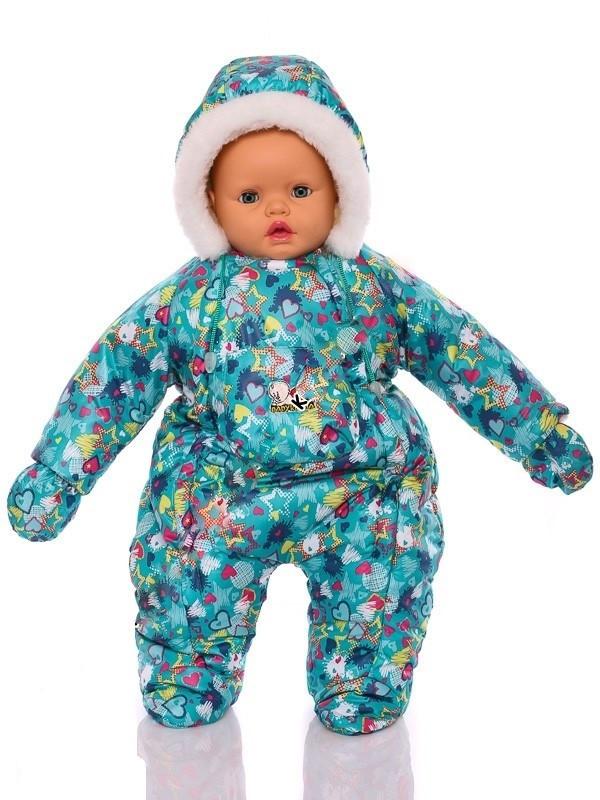 Зимний комбинезон для новорожденных (0-6 месяцев) зеленый в звездочку