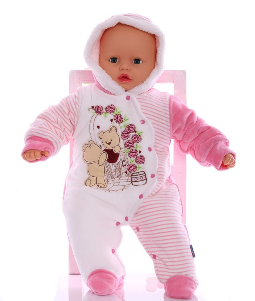 Зимний комбинезон для новорожденных Розочка розовый