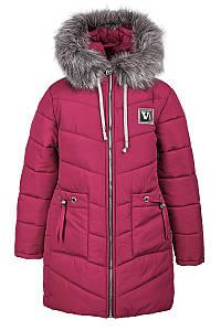 Зимняя куртка розового цвета на девочку-подростка 6-10 лет, 2144