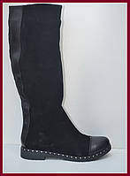 Сапоги женские из натурального замша на платформе на широкую ногу