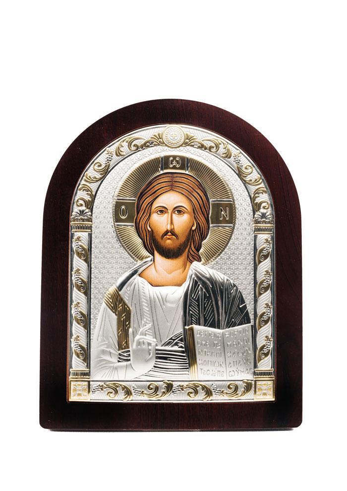 Икона Святой Спаситель Серебряная с позолотой AGIO SILVER (Греция)  120 х 160 мм