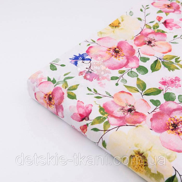 "Отрез ткани ""Колибри в цветущем саду"" на белом (№2299а), размер 90*160"