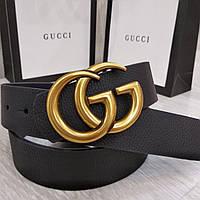 """Ремень Gucci черный с пряжкой """"античное золото"""""""