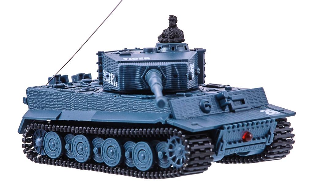 Танк на радиоуправлении Tiger 1:72 с вращающейся башней и отдачей при выстреле со звуком и светом