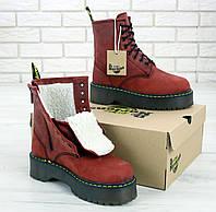 Ботинки зимние С МЕХОМ Dr. Martens Jadon 8-Eye Boot Polished Smooth / Доктор Мартинс Жадон, бордовые