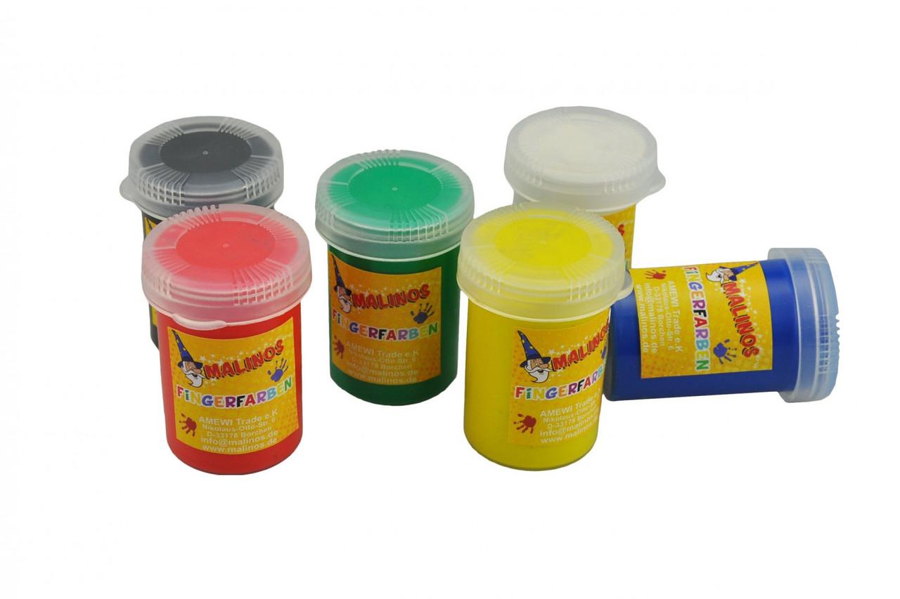 Пальчиковые краски безопасные непроливаемые 6 цветов MALINOS Fingerfarben