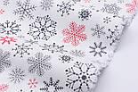 """Тканина новорічна """"Парад сніжинок"""" графітові, червоні на білому №2487, фото 5"""