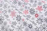 """Тканина новорічна """"Парад сніжинок"""" графітові, червоні на білому №2487, фото 8"""