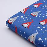 """Ткань новогодняя """"Скандинавские гномы"""" красно-серые на синем, №2486, фото 3"""