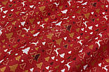 """Ткань новогодняя с глиттерным рисунком """"Густые ёлки и олени"""" белые, золотистые на красном, №2484, фото 6"""