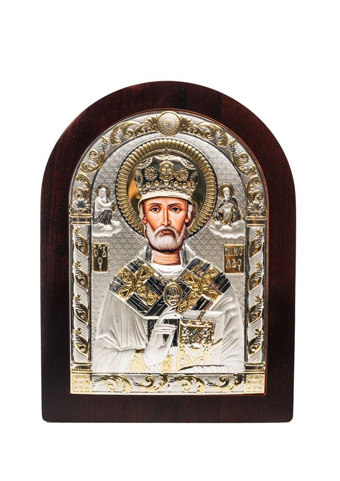Икона Святой Николай AGIO SILVER (Греция) Серебряная с позолотой 57 х 75 мм