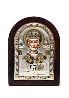 Икона Святой Николай AGIO SILVER (Греция) Серебряная с позолотой 57 х 75 мм, фото 1