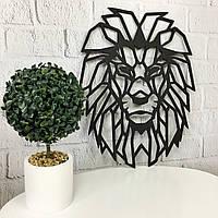 Стильный декор на стену деревянное панно «Лев»