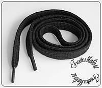 Шнурки обувные хлопковые плоские 1,5м черные.