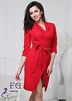 Платье женское. Красивое женское платье красного цвета. Женское платье на запах