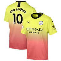 Футбольная форма Манчестер Сити KUN AGÜERO 10 сезон 2019-2020 резервная желтая, фото 1