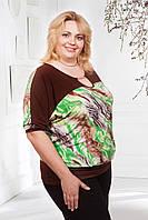Женская батальная блуза с напуском, фото 1