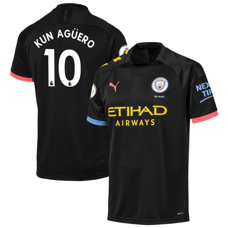 Детская футбольная форма Манчестер Сити KUN AGÜERO 10  сезон 2019-2020 выездная черная