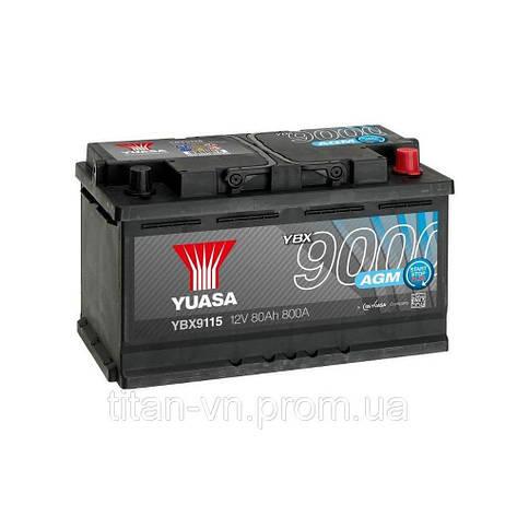 Yuasa 6СТ-80 АзЕ AGM YBX9115 Автомобильный аккумулятор, фото 2