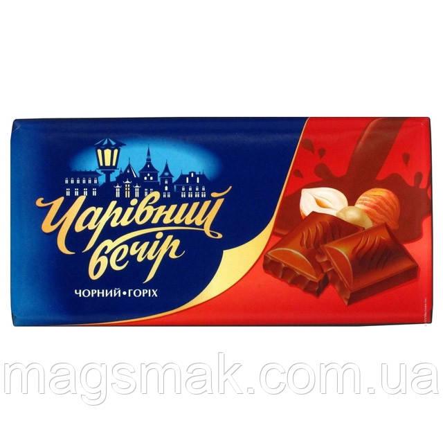 Десерт шоколадный Чарівний вечір черный c орехом, 85г