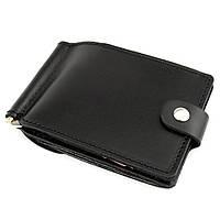 Кожаный зажим для денег Crez-11 с карманом для мелочи (черный)