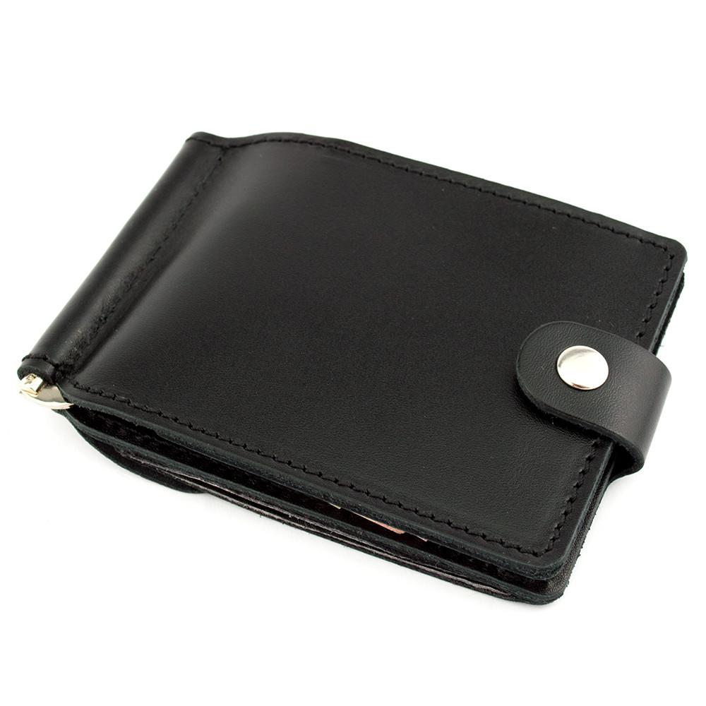 Зажим для денег кожаный Crez-11 с карманом для мелочи (черный)