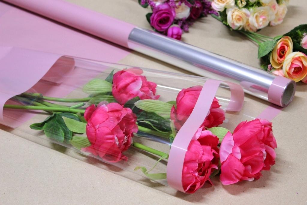 Калька для упаковки квітів в рулоні Рожева з непрозорим краєм 0,7×10 м