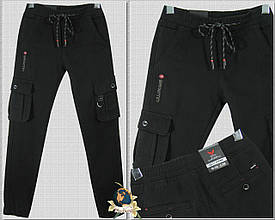 Модные утеплённые джинсы карго на мальчика подростка чёрного цвета