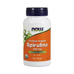 Спирулина Now Foods Spirulina 500 mg organic (100 таб) нау фудс
