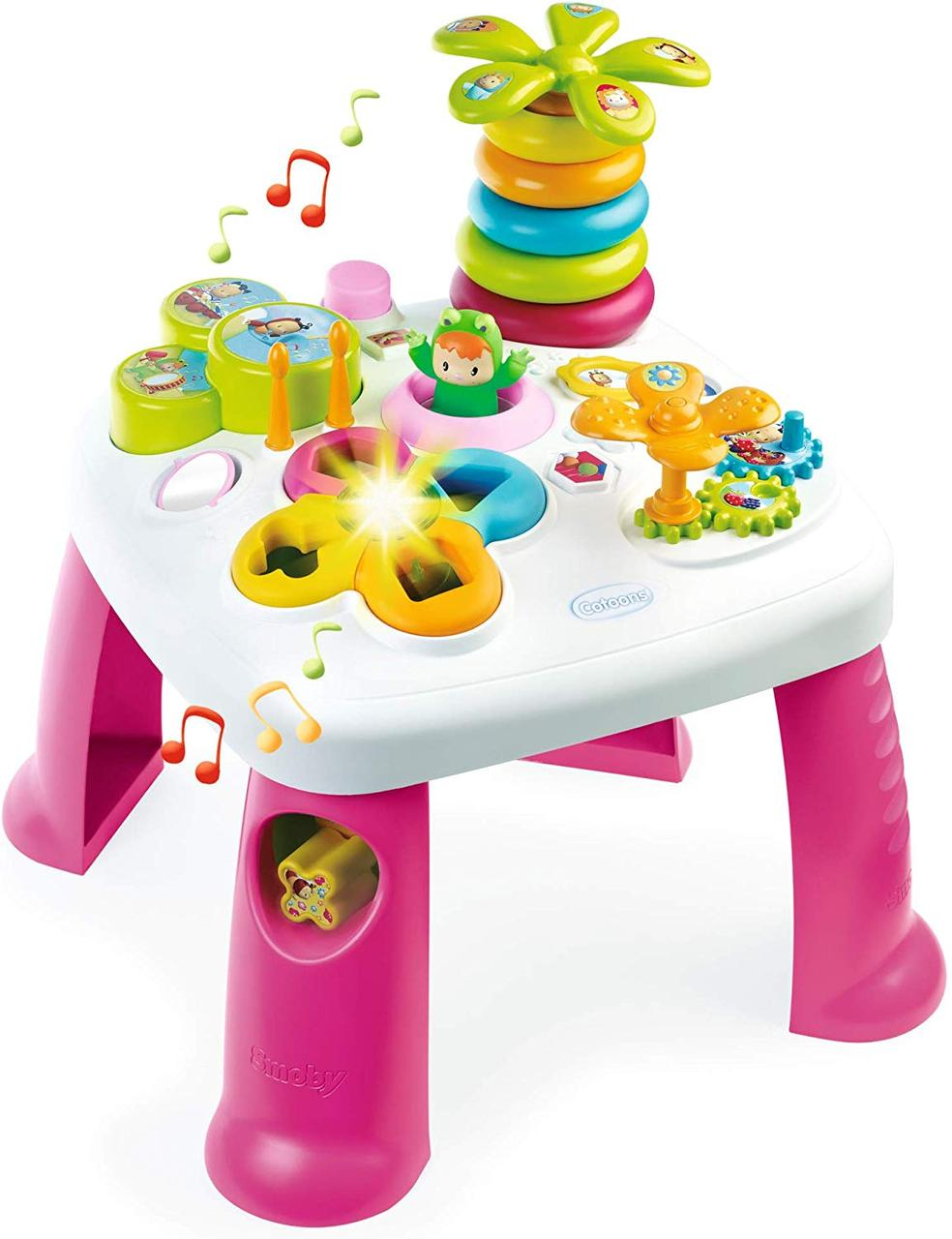 Детский игровой столик Цветочек со звуковыми и световыми эффектами бело-розовый Smoby Cotoons