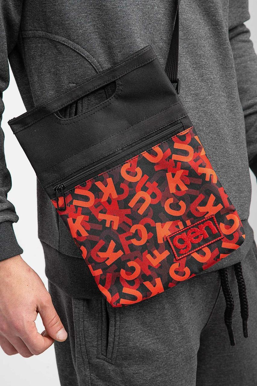 Принтованная сумка через плечо мессенджер с длинным ремешком