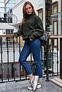 Свитер женский зелёный свободный, р.42-48, вязка, фото 4