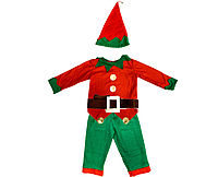 Костюм детский карнавальный НОВОГОДНИЙ ЭЛЬФ, рост 110-120 см, черный (CC013В)
