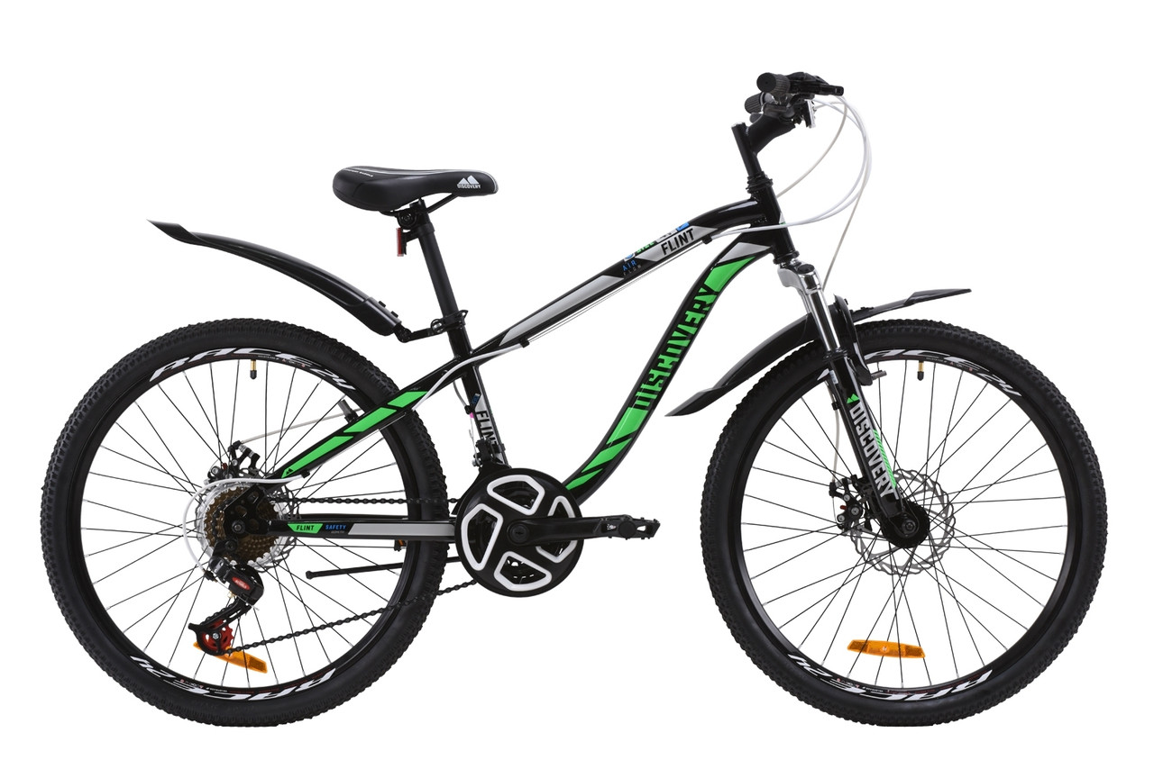 """Велосипед ST 24"""" Discovery FLINT AM DD с крылом Pl 2020 (черно-зеленый )"""