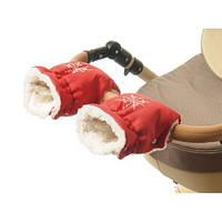 Красная муфта рукавички на коляску для рук мамы коляски Польша муфты на овчине варежки зимние к