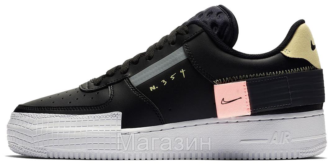 "Мужские кроссовки Nike Air Force 1 Low Type N. 354 ""Black"" CI0054-001 (Найк Аир Форс) черные"