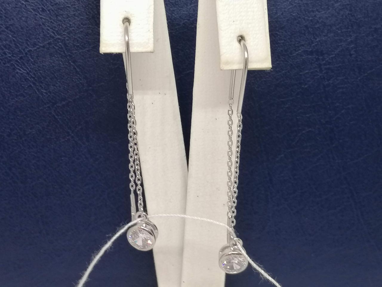 Срібні сережки-протяжки з фіанітами. Артикул С2Ф/4026
