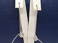 Срібні сережки-протяжки з фіанітами. Артикул С2Ф/4026, фото 1