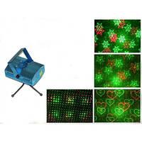 Лазерный проектор, стробоскоп, диско лазер c триногой (Рисунок: снежинки, санта, снеговик, елка, звезды)
