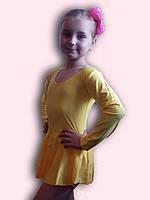 Купальник гимнастический эластик с юбкой желтый Rivage Line С9655В
