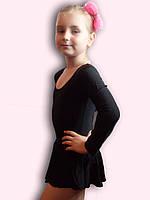Купальник гимнастический эластик с юбкой черный Rivage Line С9655В