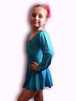 Купальник гимнастический эластик с юбкой голубой Rivage Line С9655В