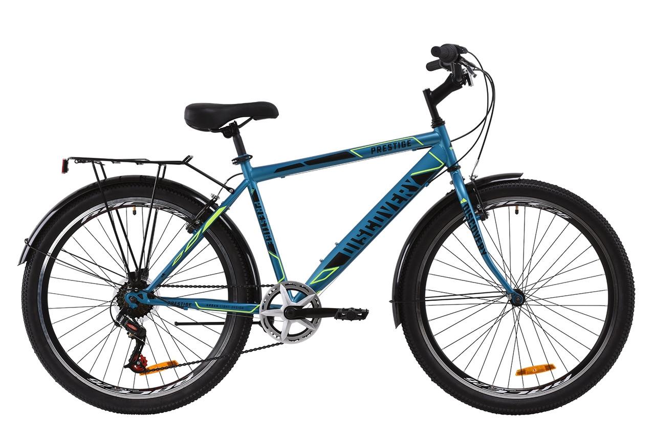 """Велосипед ST 26"""" Discovery PRESTIGE MAN Vbr с багажником зад St, с крылом St 2020 (малахитовый с желтым (м))"""